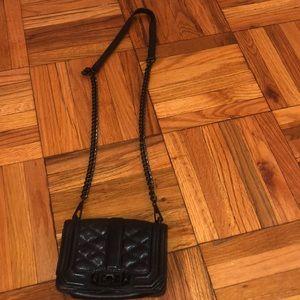 Black leather Rebecca Minkoff quilted mini bag
